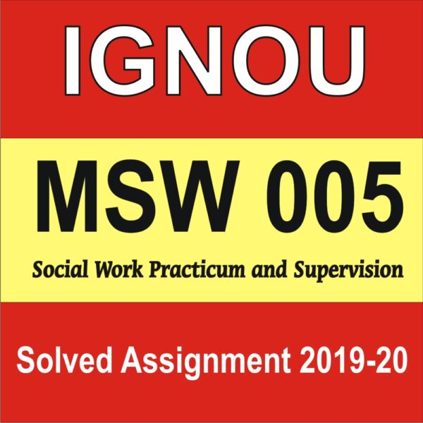 MSW 005 Social Work Practicum and Supervision
