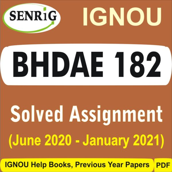 BHDAE 182 Solved assignment 2020-21 in hindi medium