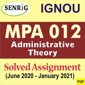 MPA 012 Solved Assignment 2020-21 in English Medium