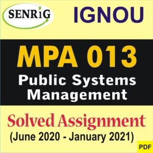 MPA 013 Solved Assignment 2020-21 in English Medium