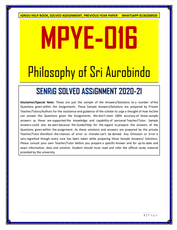 MPYE 016 Solved Assignment 2020-21 In English Medium; ignou ma philosophy assignment 2020; ignou assignments for mapy; ignou mapy 2020; ignou ma philosophy notes; ignou solved question papers ma philosophy