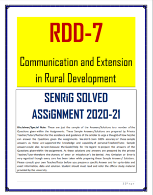 RDD 7 Solved Assignment 2020-21 In English Medium; rdd-7 question paper; rural social development; rdd-6 previous year question paper; communication and extension in rural development; ignou pgdrd papers; functions of communication ignou